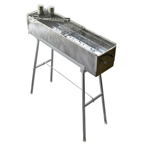 "Party Griller Yakitori Grill 32"" Stainless Steel Charcoal Grill w/ 20"" and 12"" Stainless Steel Mesh Grate"