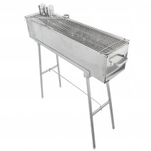 """Party Griller Yakitori Grill 32"""" Stainless Steel Charcoal Grill w/ 32"""" Stainless Steel Mesh Grate"""