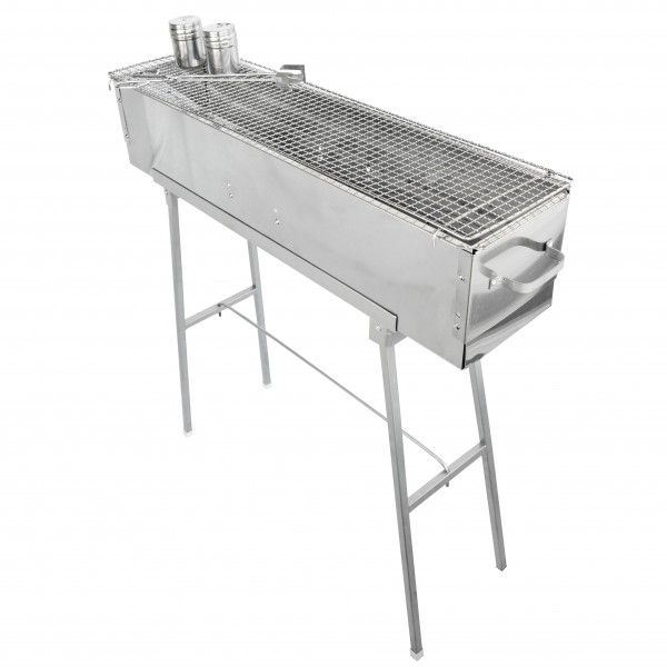 "Party Griller Yakitori Grill 32"" Stainless Steel Charcoal Grill w/ 32"" Stainless Steel Mesh Grate"