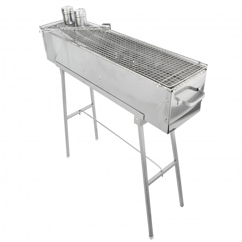 Party griller 32 stainless steel charcoal grill w 32 stainless steel mesh grate pg 3208m32 - Barbecue stainless steel grill ...