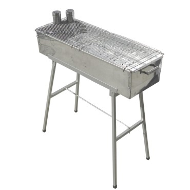 "Party Griller Yakitori Grill 32"" x 11"" Extra Wide Stainless Steel Charcoal Grill w/ 2x Stainless Steel Mesh Grate"